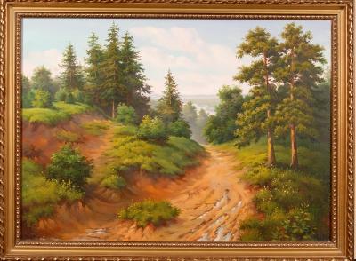 Дорога через сосновый лес