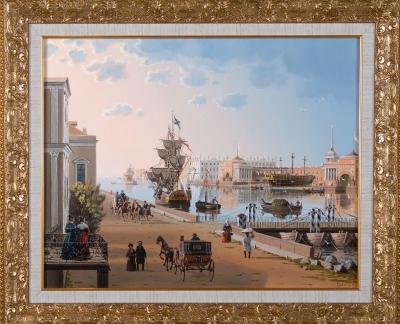 Вид на Адмиралтейство и Дворцовую набережную со стороны ВО
